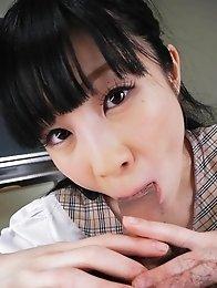Mizutama Remon Asian in uniform licks and sucks boner at school