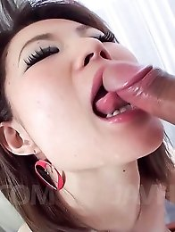 Miki Uemura Asian with erect nipples sucks cock and rides it well