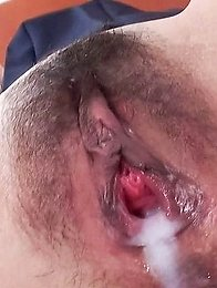 Miyuki Asian has cum pouring from mouth after sucking and riding