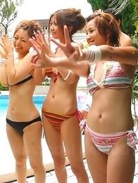 Hot Asian bikini chicks suck cocks