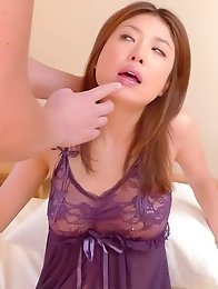 Mafuyu Hanasaki Asian has shaved peach doggy nailed and fingered
