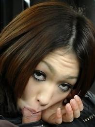 Sexy Yu Yamashita gives head in car