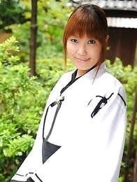 Cute Yuuno Hoshi poses for camera
