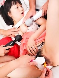Nozomi Hazuki Asian has many vibrators on body and gets cum