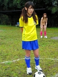 Horny babes playing sexy soccer