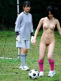 Amazing naked soccer playing babes