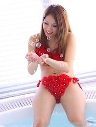 Manami Ichikawa playing in her pool