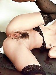 Erena Kurosawa Asian has hairy crack under vibrator and fingered