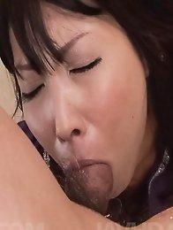 Chihiro Kitagawa Asian with hot behind sucks hard boner so well