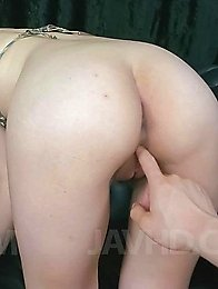 Saki Ootsuka Asian has fingers and vibrator on and in fish taco