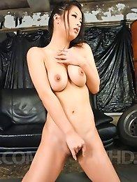 Satomi Suzuki Asian sucks tow dicks and plays with her boobies
