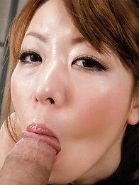 Misato Sakurai Asian with sexy lips sucks boner and gets doggy