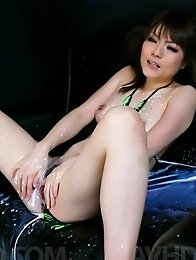 Huwari Asian gets so much teasing of her fish taco that squirts