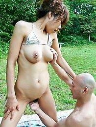 Asuka Ishihara Asian rubs cock with big boobs and feet outdoor