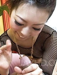 Yuki Asami Asian teases cock with feet and sucks it for orgasm