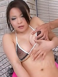 Yuu Haruka with hot bum is teased with vibrators on tits and slit