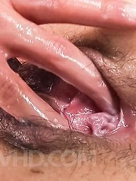 Ai Okada Asian licks tool and has hairy cunt fingered and fucked