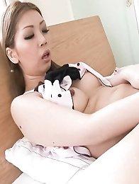Ayumi Kobayashi Asian with big jugs fucks her pussy with vibrator