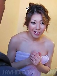 Reina Nishio Asian with cum on mouth fucks herself with vibrator