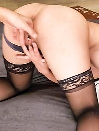 Eririka Katagiri Asian in stockings sucks two dongs in her style