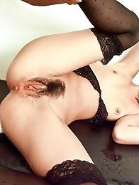 Erena Kurosawa Asian with stockings is fingered a lot in pussy