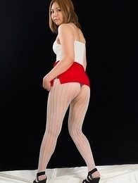 Stunning young girl Ayano Hidaka showing her feet in a white pantyhose