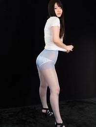 Dark-haired JAV goddess Sana Iori flaunting her pantyhose-clad legs in HQ