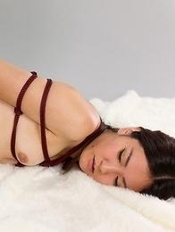 White stockings babe Madoka Yukishiro teasing her oily pussy before thigh-fucking