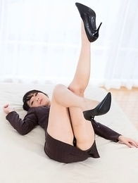 Beauty in black Akari Misaki giving a real rough footjob with CBT