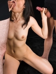 Reo Saionji Covers Dick with Sticky Cum with Her Mouth