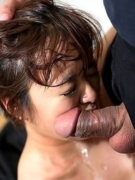 Tiny Meril Imai gets her mouth used like the little fuck toy she is.