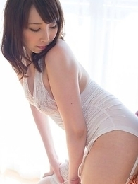 Stockings-clad cutie Aya Kisaki gets hot-dogged (assjob) from behind