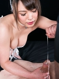 Yui Kawagoe Uses A Group of Guys' Cum For One Messy Handjob
