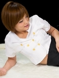 Short-haired teen in white stockings Kaede Oshiro is about to get fingered HARD