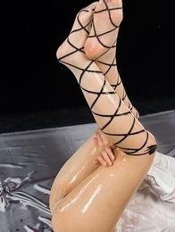 Yukari Toudou oils herself up before masturbating with a toy