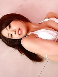 Mayu Kanaoka with big tits in white lingerie poses so hot