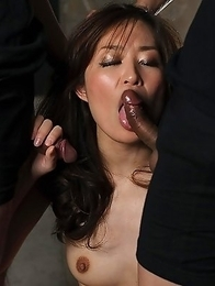 Cute housewife Saori Hirako swallows 3 cocks in her basement until they cum all over face.