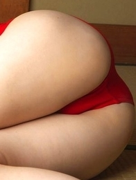 Kaori Ishii busty in red gym suit shows how flexible she is