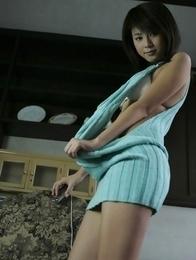 Yuka Kosaka takes blue dress off revealing leering curves