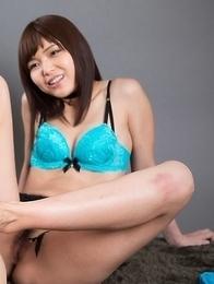 Colorful cuties Aya Kisaki and Shino Aoi make this dude blow his load on cam