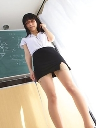 Yuri Hamada shows sexy legs in stockings while teaching